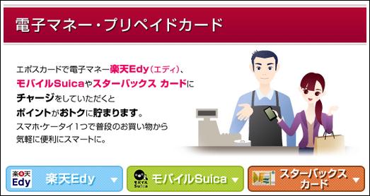 EPOSカードは楽天EdyとモバイルSUICAへのチャージでポイントが付与される