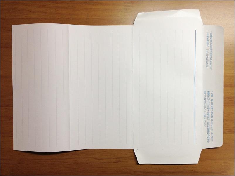 ミニレターを裏側から見た図
