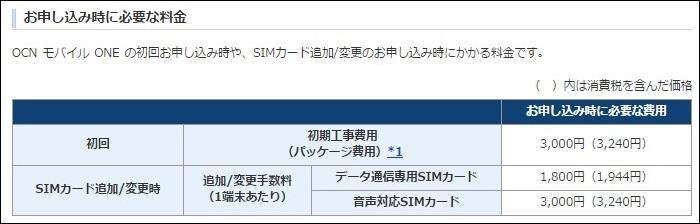 初期工事費用は3000円