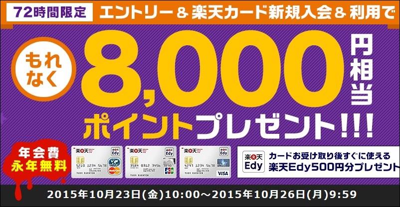 2015年10月の楽天カードの入会キャンペーン