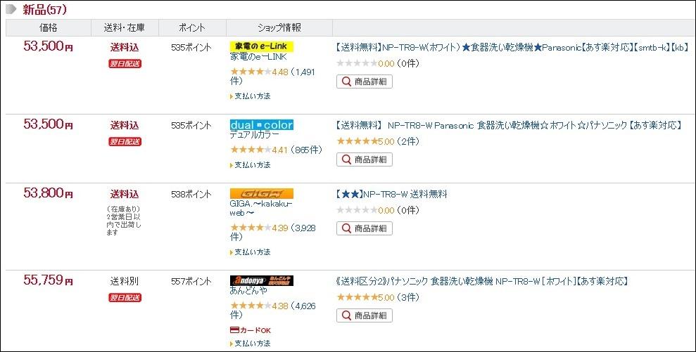 楽天市場のNP-TR8-Wのお値段は52965円でした